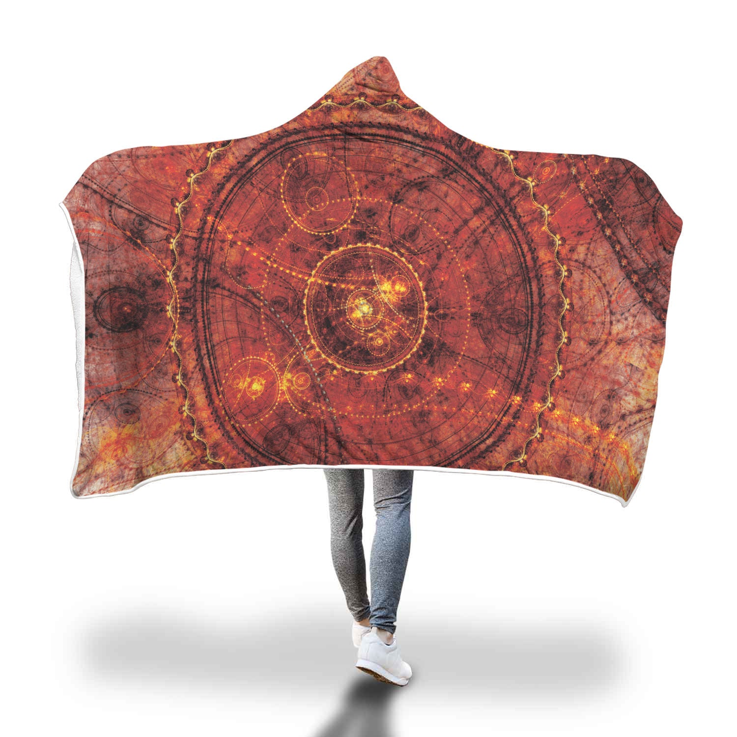 Red Circle Steampunk Hooded Blanket - Hello Moa