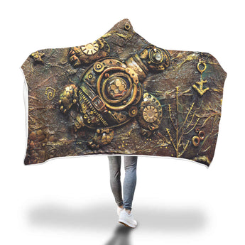 Steampunk Turtle Hooded Blanket