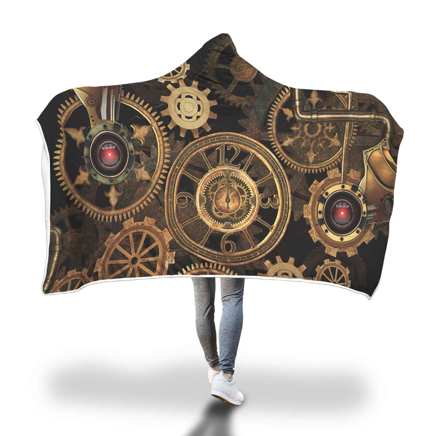 Red Eye Steampunk Hooded Blanket