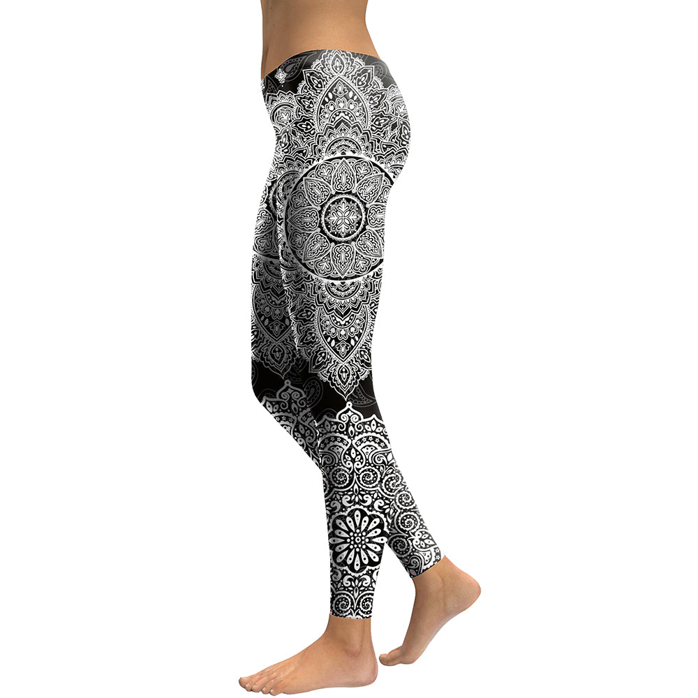 Black Mandala Leggings - Hello Moa