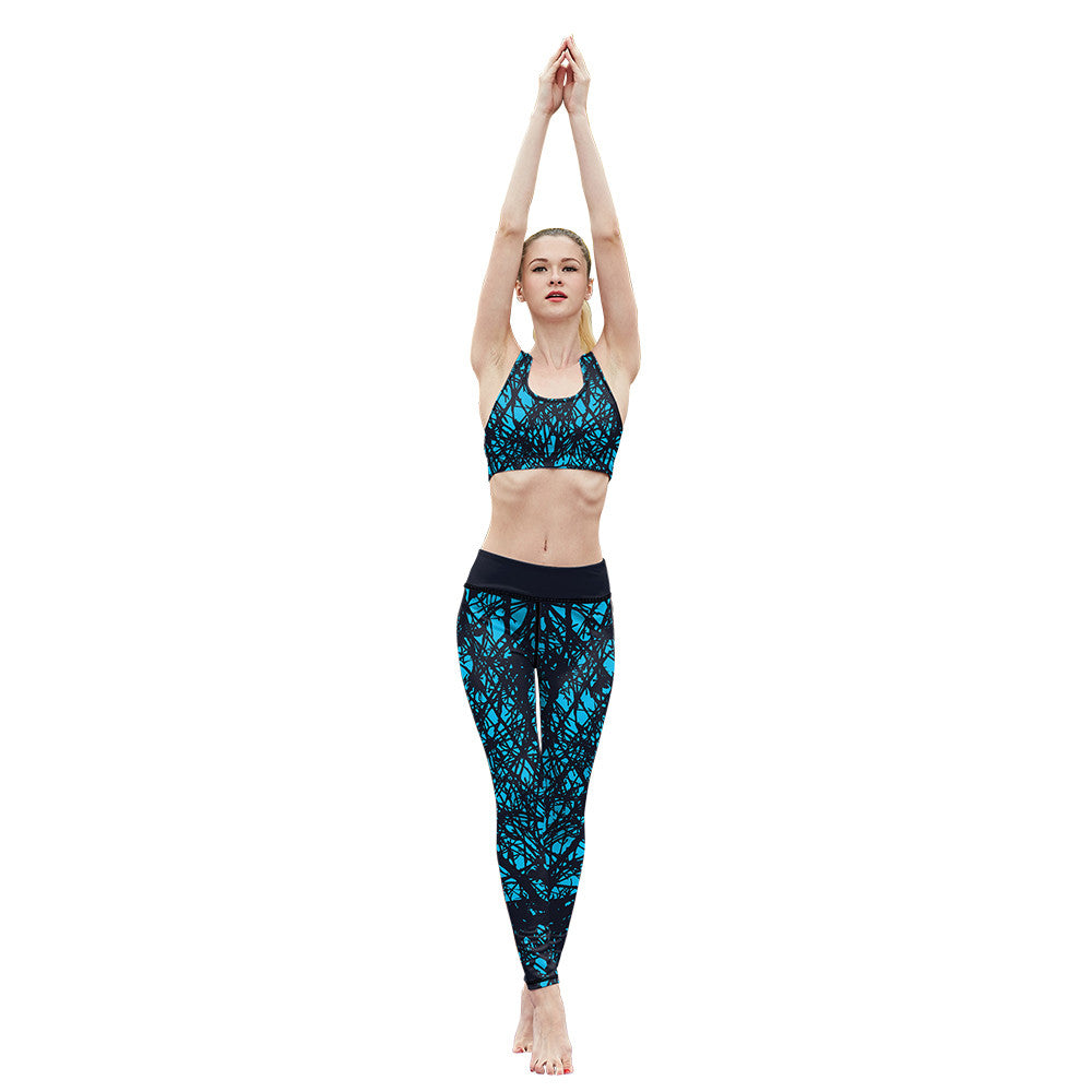 Blue Web Fitness Leggings - Hello Moa
