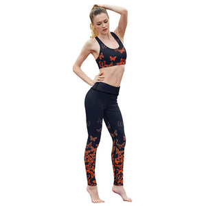 Orange Butterfly Fitness Leggings