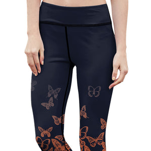 Orange Butterfly Fitness Leggings - Hello Moa