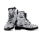 B&W Cartoon Cat Boots (Women's) - Hello Moa