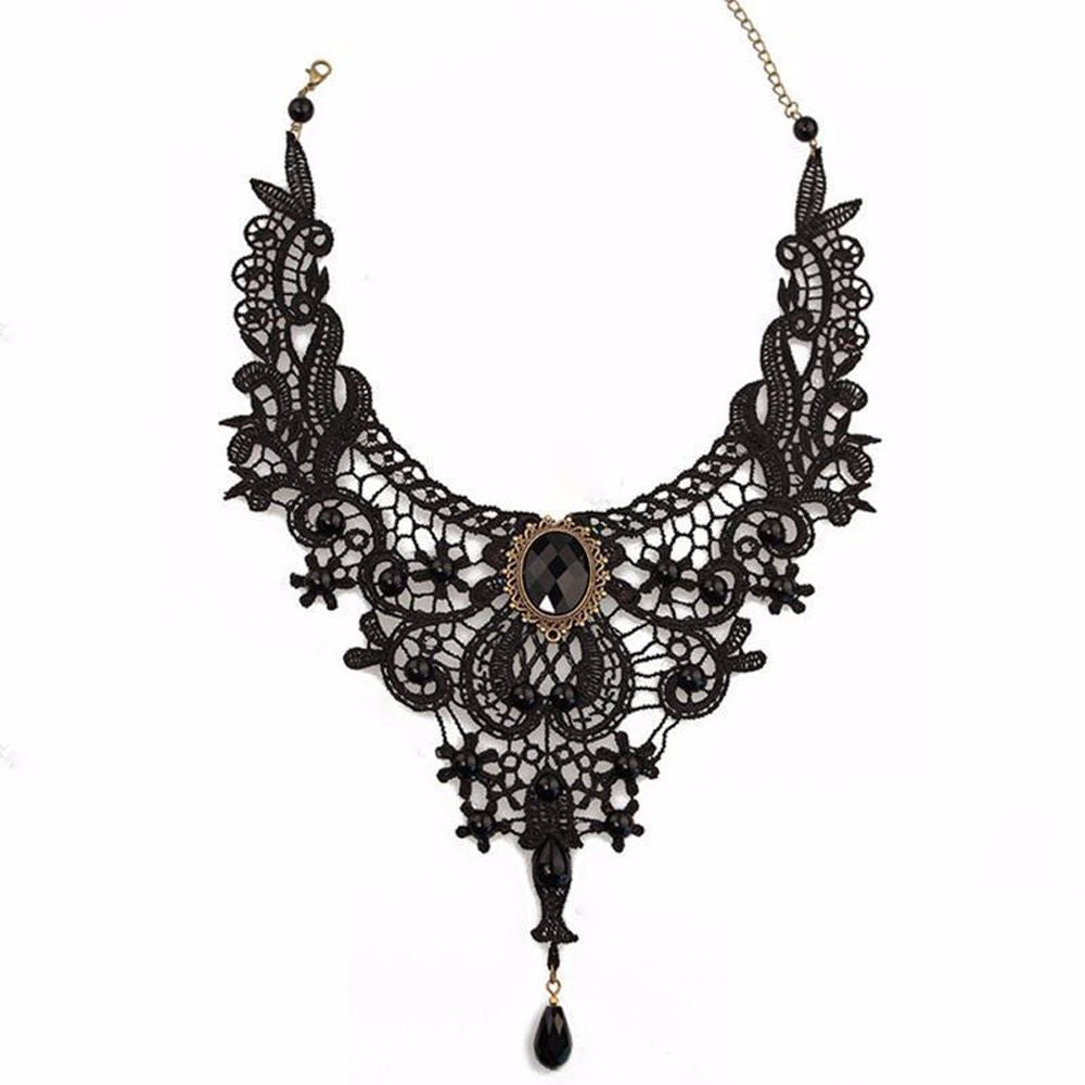 Black Lace & Beads Steampunk Collar - Hello Moa