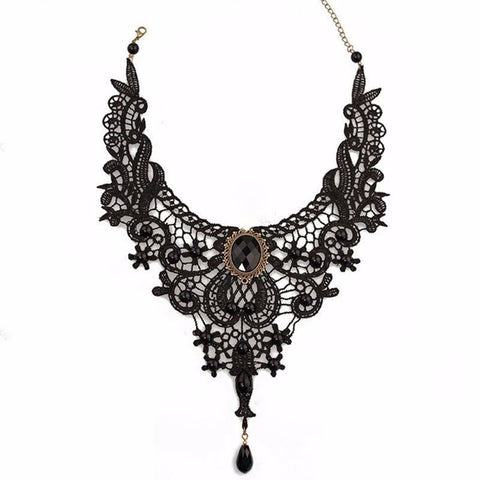 Image of Black Lace & Beads Steampunk Collar