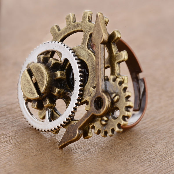Gear & Clock Pointer Steampunk Ring