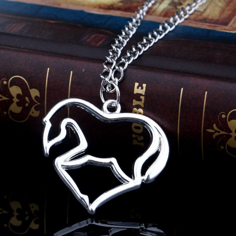 Silver Heart Horse Necklace - Hello Moa