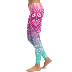 Pink & Blue Mandala Leggings - Hello Moa