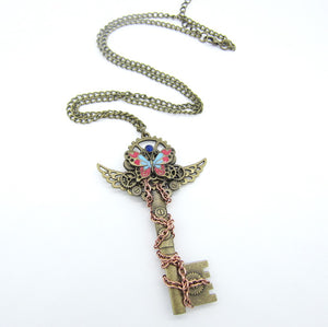Brass Winged Key Necklace - Hello Moa