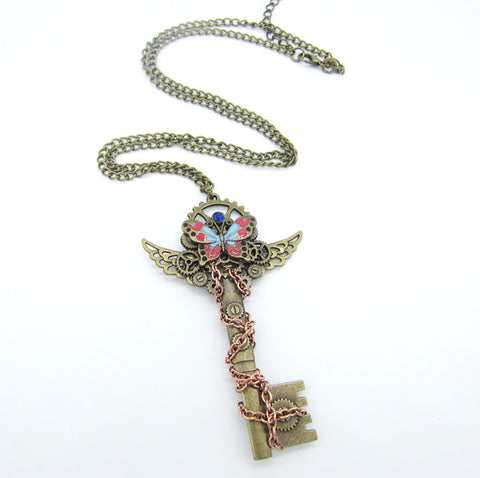 Image of Brass Winged Key Necklace