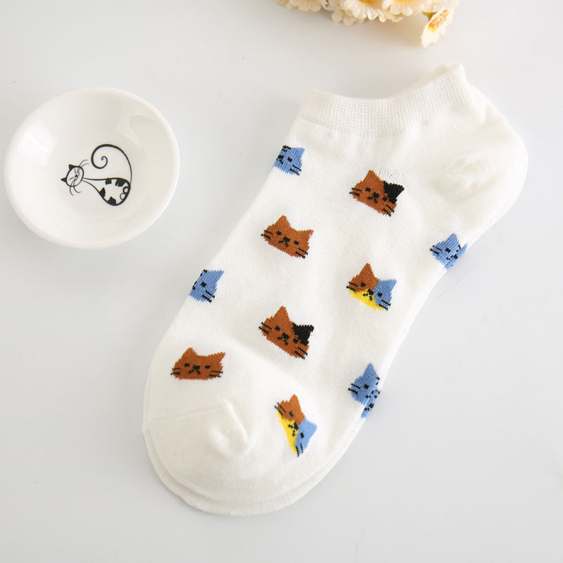Cat Faces Cotton Socks - Hello Moa