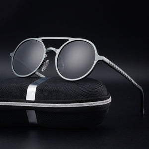 Mirrored Round Steampunk Sunglasses