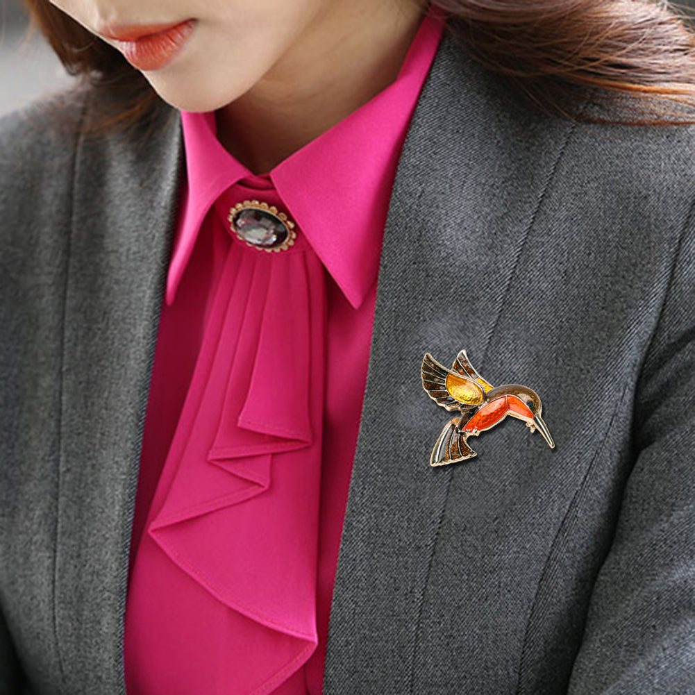 Retro Steampunk Bird Enamel Brooch - Hello Moa
