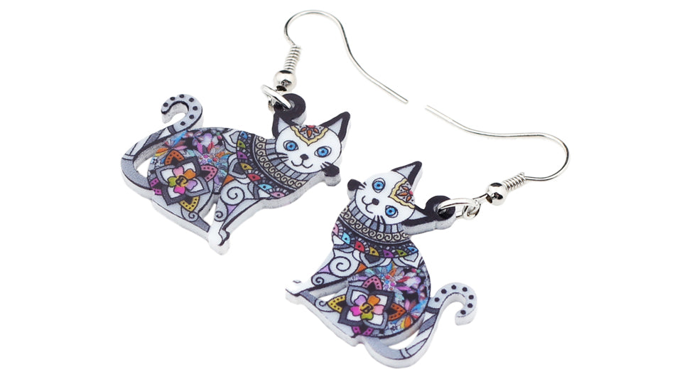 Floral Cat Kitten Earrings