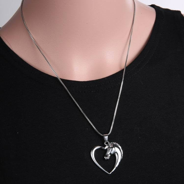 Horse Silver Heart Necklace