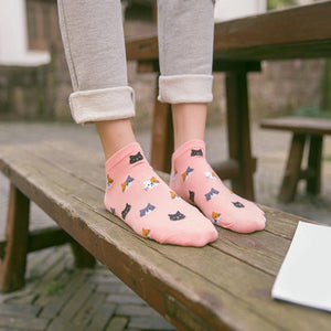 Cat Faces Cotton Socks