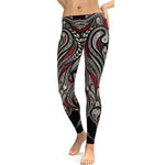 Black & Red Mandala Leggings - Hello Moa
