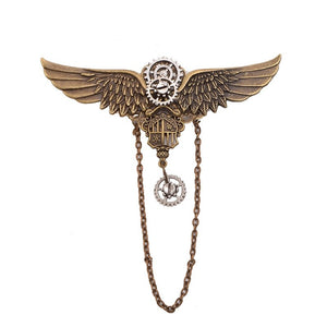 Steampunk Gears Wing Brooch - Hello Moa