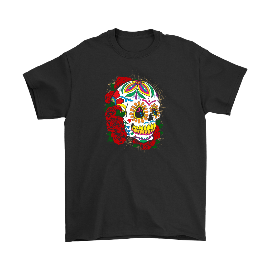 Red Flower Sugar Skull Tee - Hello Moa