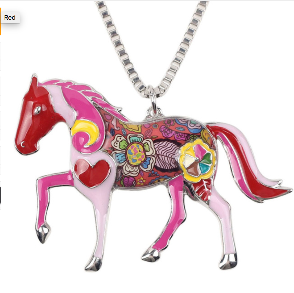 Colorful Enamel Horse Necklace - Hello Moa