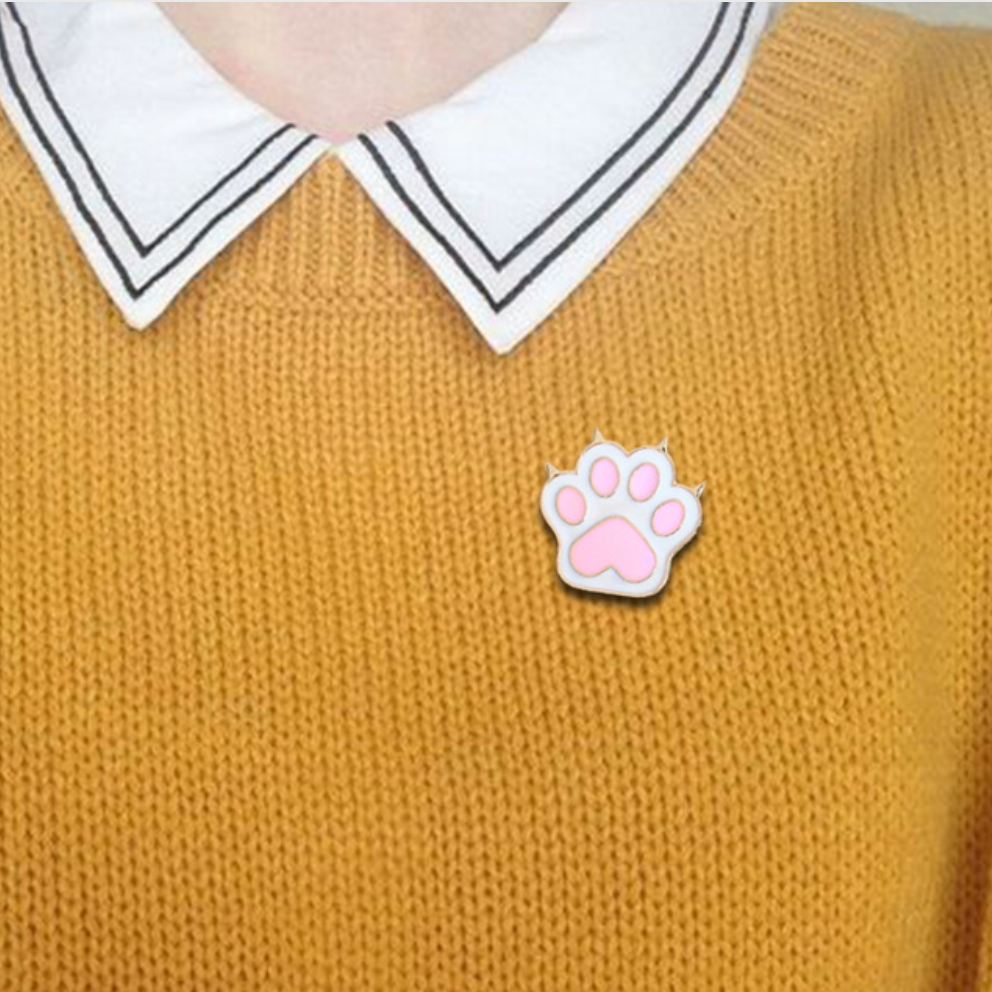 Cute Pink Cat Paw Pin - Hello Moa