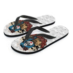 Blue Hair Sugar Skull Flip Flops - Hello Moa