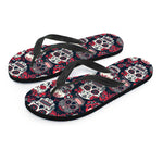 Red & White Sugar Skull Flip Flops