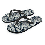 Black & White Sugar Skull Flip Flops