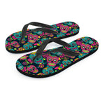 Red & Yellow Sugar Skull Flip Flops - Hello Moa