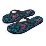 Red & Blue Sugar Skull Flip Flops - Hello Moa