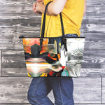 Art Cat Leather Tote Bag
