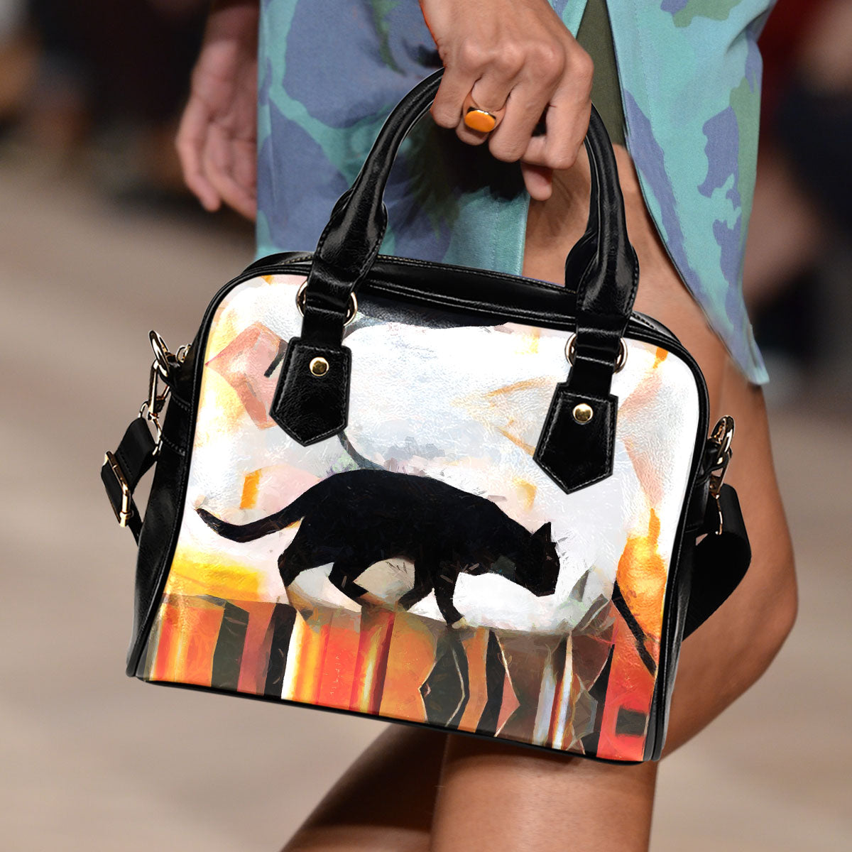 Art V Cat Shoulder Handbag - Hello Moa