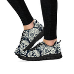 Black & White Sugar Skulls II Sneakers - Hello Moa