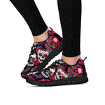 Red & White Sugar Skull II Sneakers - Hello Moa