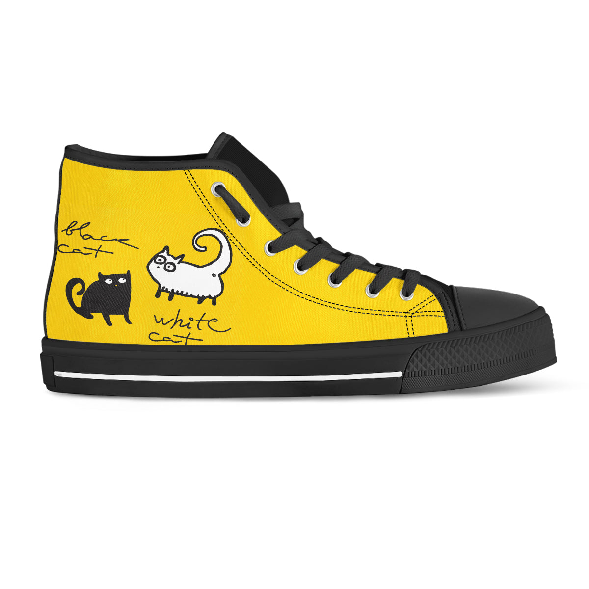 Black Cat - White Cat Canvas Shoes (Women's) - Hello Moa