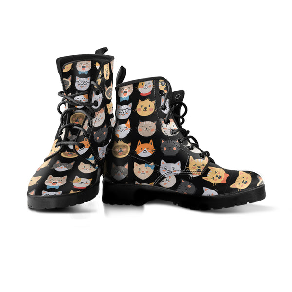 Adorable Cats Black Boots (Women's)