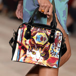Blue Red Cat Shoulder Handbag