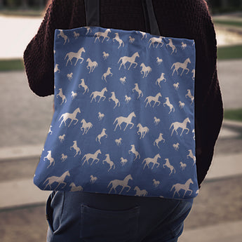 Blue Horse Cloth Tote Bag