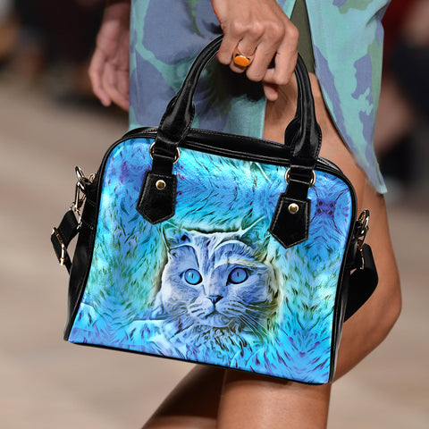 Blue II Cat Shoulder Handbag