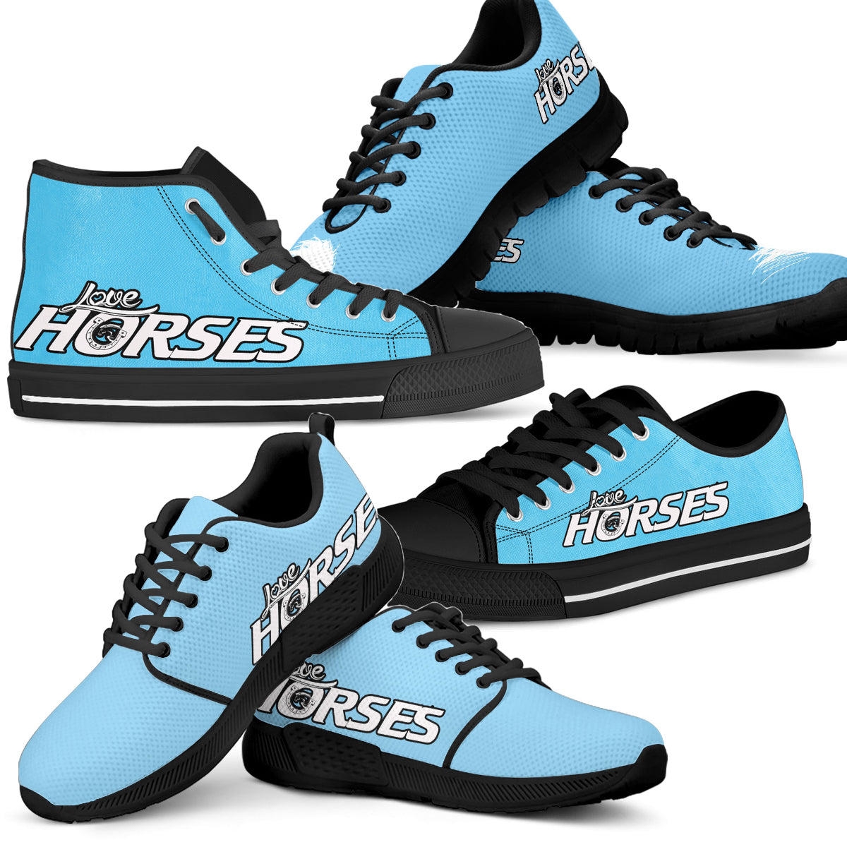 Love Horses Shoes Blue (Women's) - Hello Moa