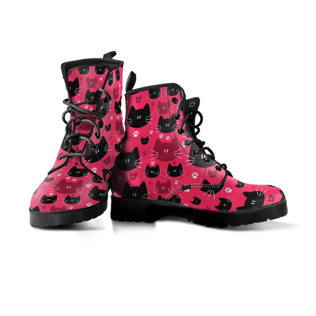 Black & Red Cat Faces Boots (Women's) - Hello Moa