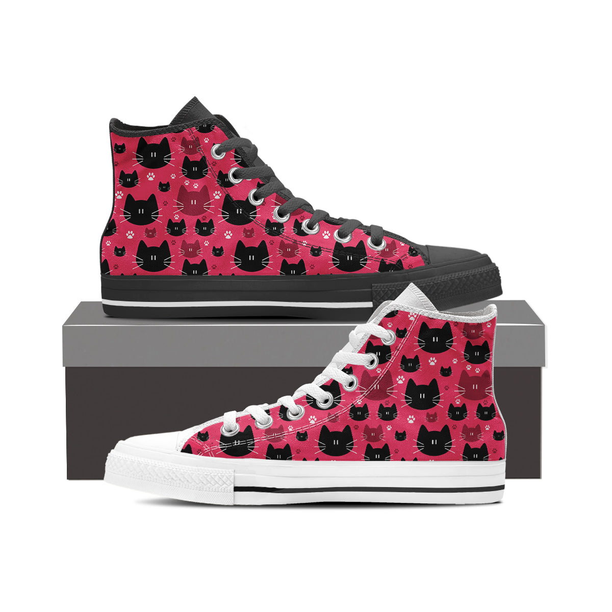 Express Black & Red Cat High Tops - Hello Moa