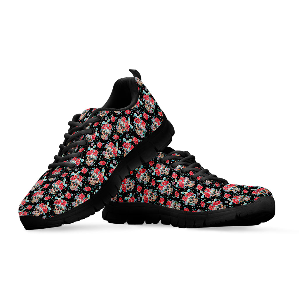 Black & Red Sugar Skull Sneakers
