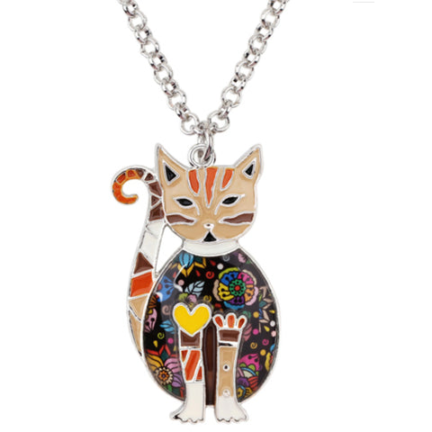 Enamel Alloy Floral Cat Necklace