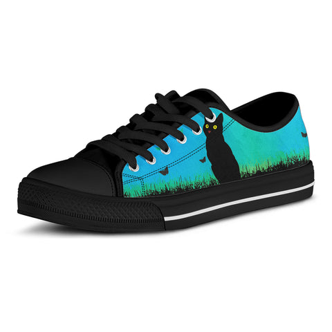 Image of Black Cat Blue Sky Canvas Shoes (Women's)