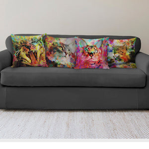 Colorful Cat Pillow Covers