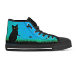 Black Cat Blue Sky Canvas Shoes (Women's) - Hello Moa