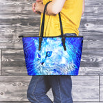 Blue Cat Leather Tote Bag - Hello Moa