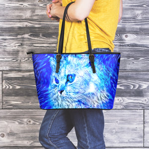 Blue Cat Leather Tote Bag